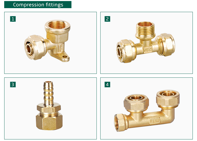 3 way tee brass copper elbow compression fitting for pex al pex pipe