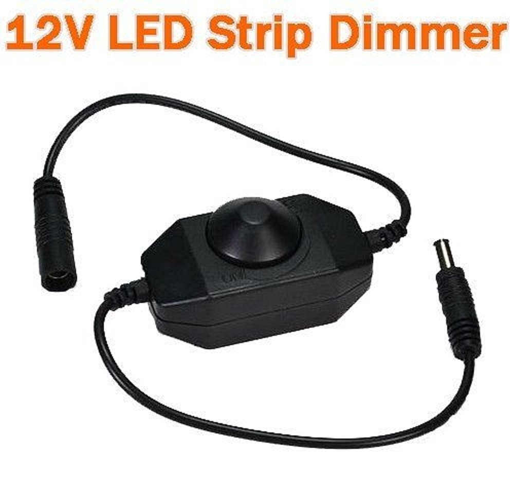 12-24v DC LED PWM Dimmer for LED Strips lights LED Ribbon on Wire Knob Operated Black Color Plug & Play