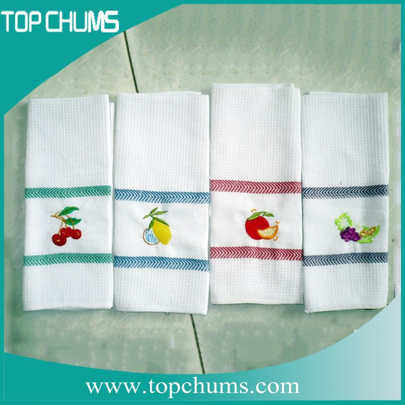 high quality wholesale plain white linen cotton embroidery waffle tea towels