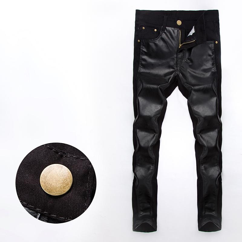 11b656b165e9 New Cool 2015 hot men casual trousers slim PU leather splicing motorcycle pants  zipper fly pantalones