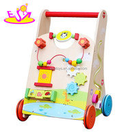 2018 New design multi push along wooden baby walking toys W16E061