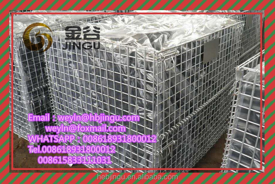 Metal Storage Pallet Cages Collapsible Bins Folding Wire Mesh Pallets