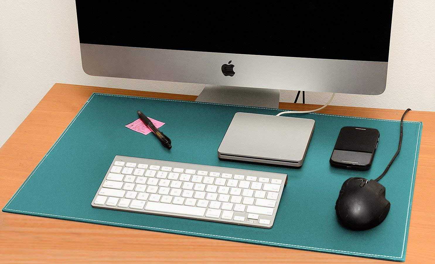 Desk Pad Blotter Protector Comfortable With Faux Leather Feels Smooth And Sturdy With Reversible Style Colors Cyan To Magenta, Size 16 X 24 Inches.
