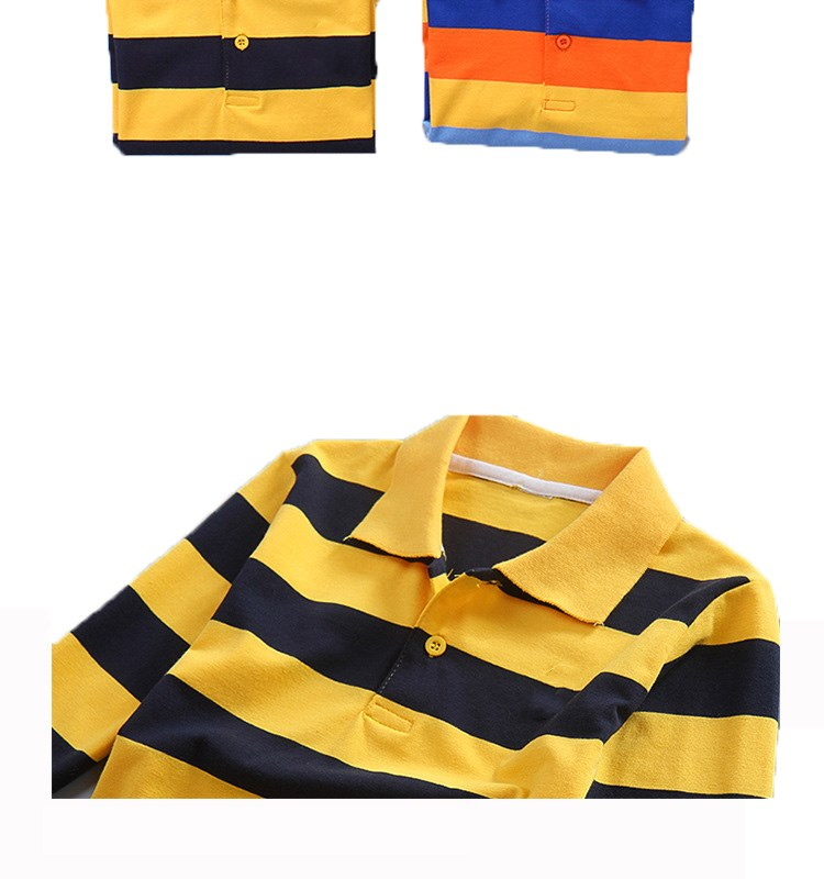 autumn cheap long sleeve polo shirts teen boys letter t shirt mans vertical striped polo shirts kids clothing