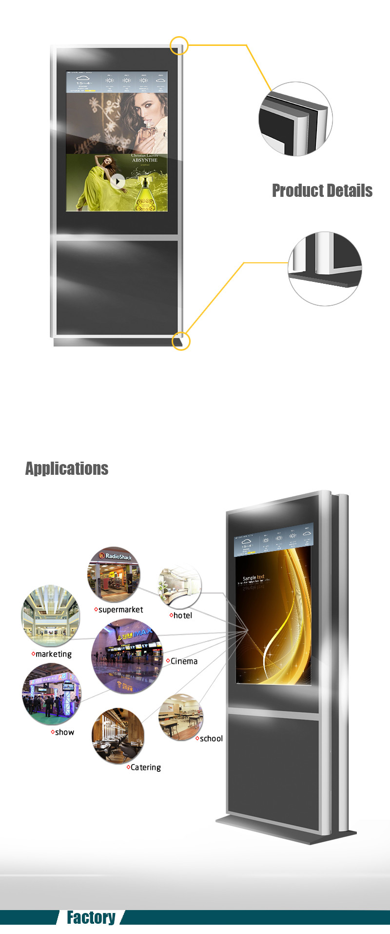 42 inch touch screen kiosk standalone digital signage screen/full new player ftp android media player/advertising gadget