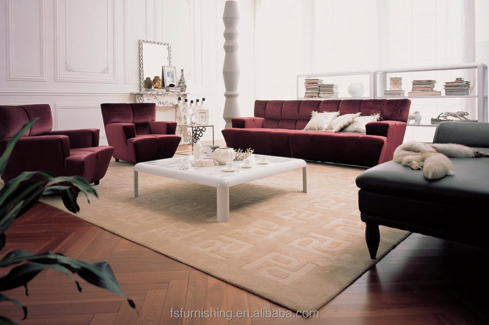 Jr304 Simple Luxury Contemporary Red Color Velvet Fabric Living ...