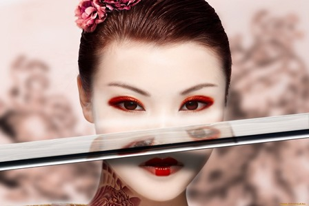 brunettes women katana models japanese <font><b>asians</b></font> swords Hot Girls <font><b>Asian</b></font> <font><b>Home</b></font> <font><b>Decoration</b></font> Canvas Poster