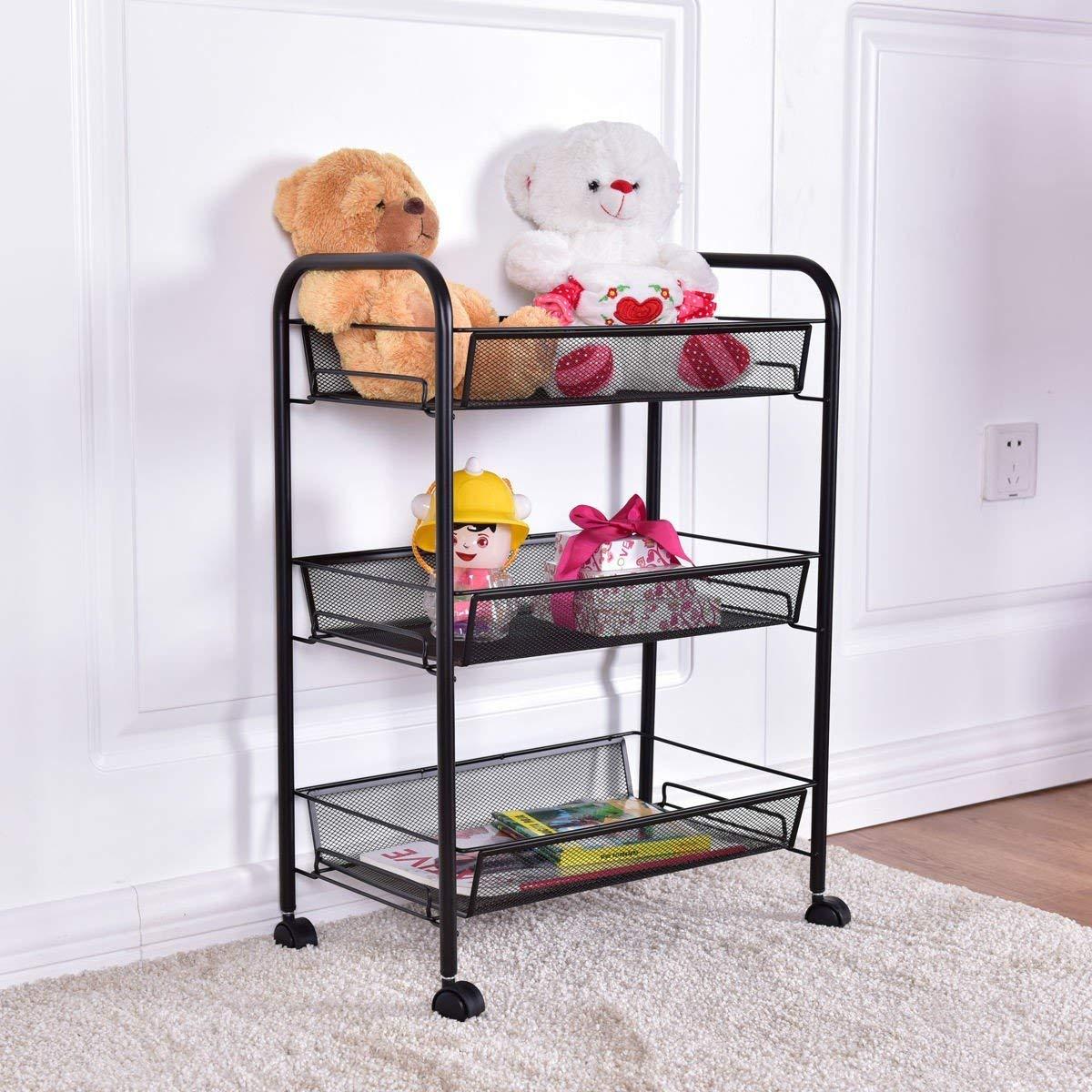 Custpromo 3-Tier Basket Stand Kitchen Bathroom Trolley Full-Metal Rolling Storage Cart With Steel Mesh Baskets for storage (Black)