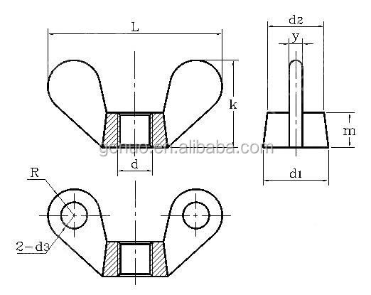 Stainless Steel 304 Butterfly Nutlock Wing Nut