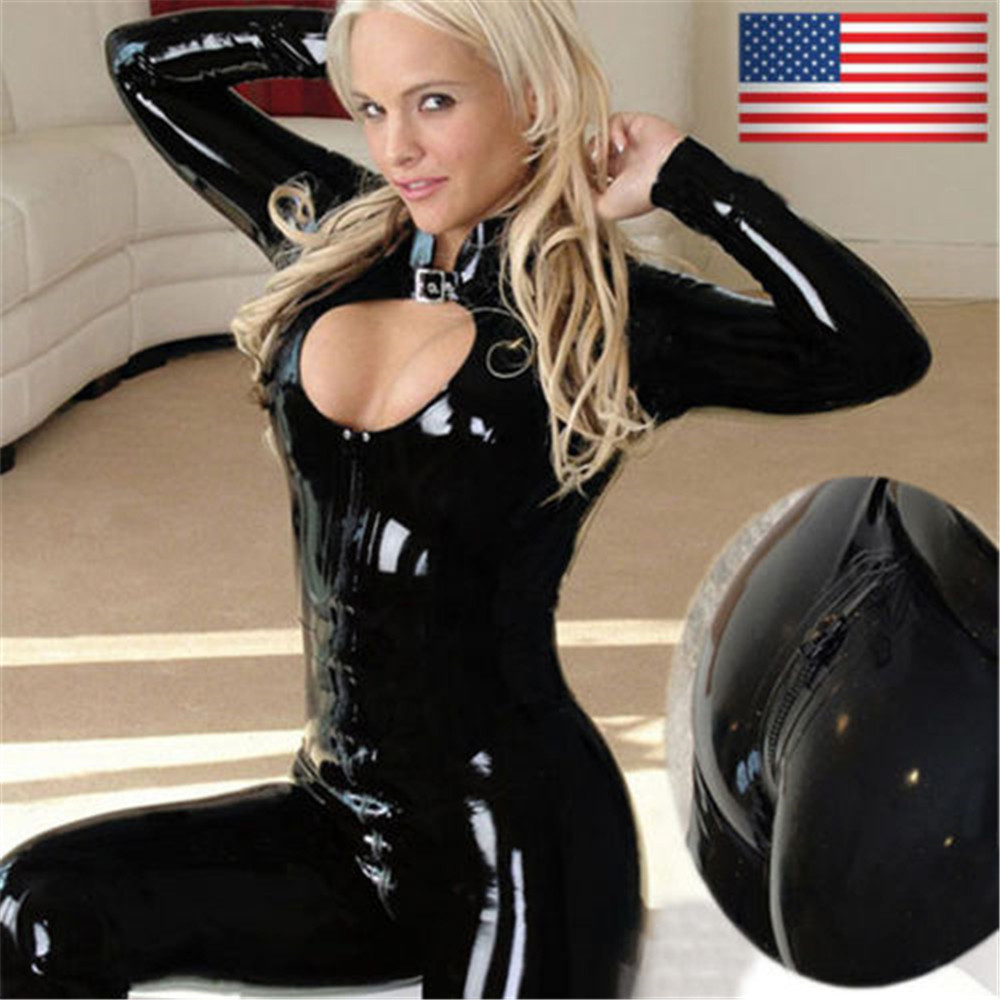 Full Female Women Black Body Suit Long Sleeve Clubwear Catsuit Jumpsuit Patent Leather