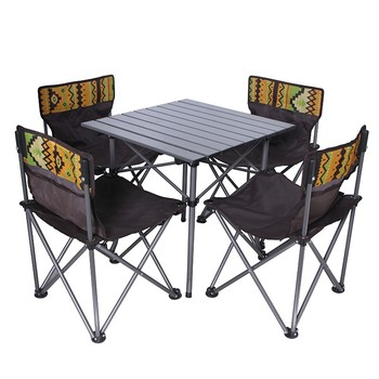 Tianye Camping Outdoor600D pvc coating  Beach Folding Dining garden set  Four Seater Portable Folding Table And Chair Set