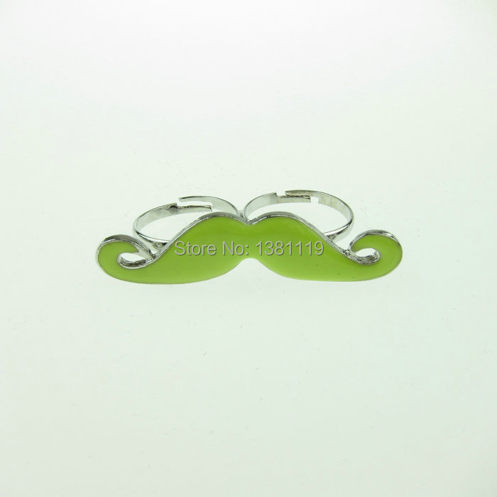377c9dcf0ac Get Quotations · Fun Neon Green Moustache Beard Fashion 2014 Double Loops  Rings