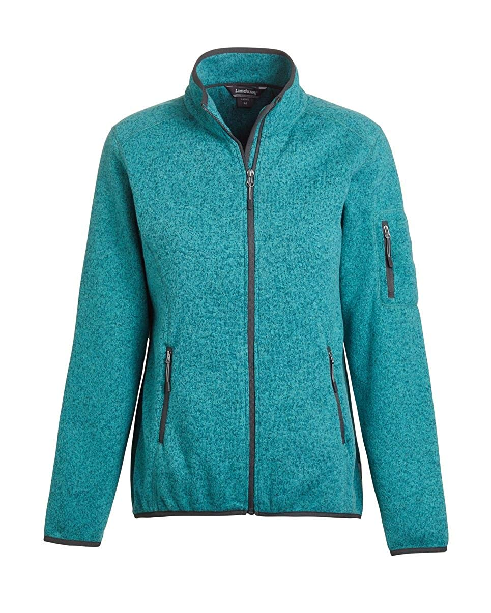 Landway Women's 2 Pockets Sweater Knit Fleece Jacket, Heather Teal, X-Large