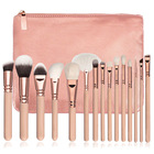 Customized 15pcs Rose Gold Pink Makeup Brushes Set private label Vegan Make Up Tools Powder Foundation Eyes Brush with bag