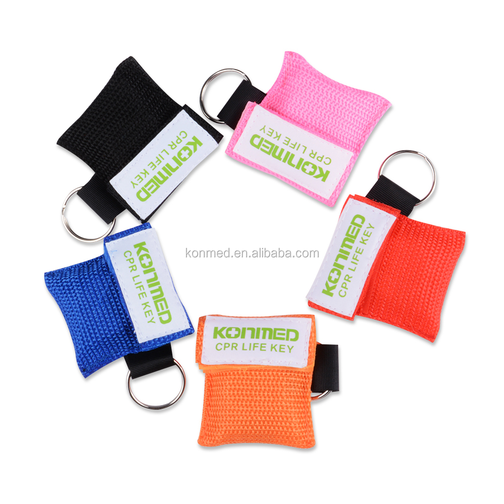 (Logo print service) disposable cpr face shield, cpr mask keyring,singlse use cpr keychain mask