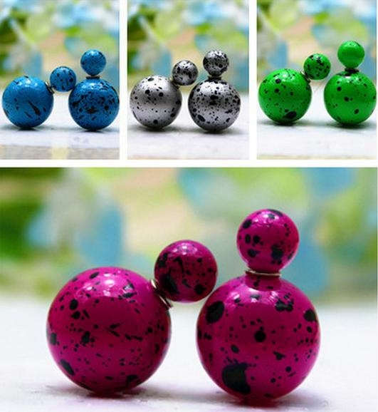 new design colorful Alloy ball big pearl stud earring , Round ball double stud earring , pearl stud earring