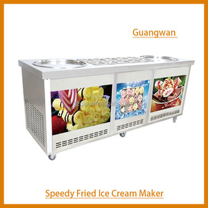 two pan fried ice ceam machine with cooling storage MSN-2-8