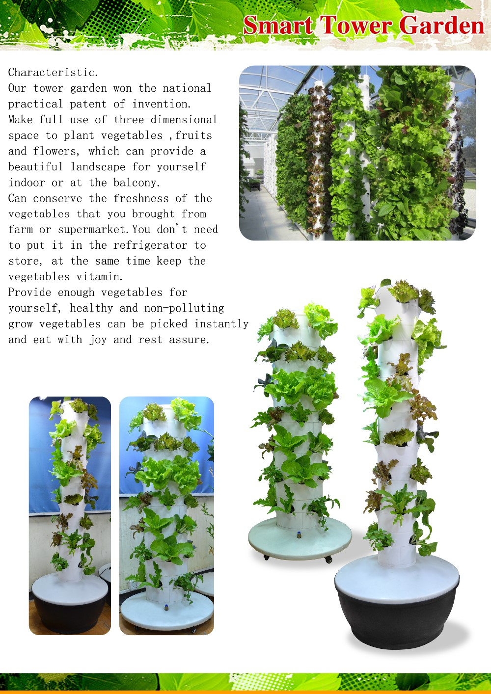 2016 New Hanging Tower Garden 4 Pcs Each Floor Hydroponics For