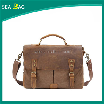 Uni 14 Laptop Handbag Designer Mens Canvas Leather Satchel Messenger Shoulder Tote Bag Briefcase