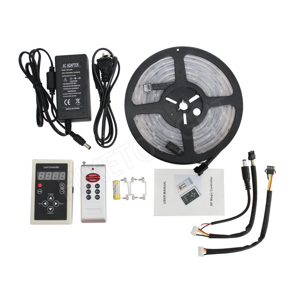 HIKETOLIGHT Full Color Decoration IC6803 LED Strip Light 5M 150L Waterproof IP67 Dream Colors &133 RF Magic Controller & 12V 3A Power Supply One Kit