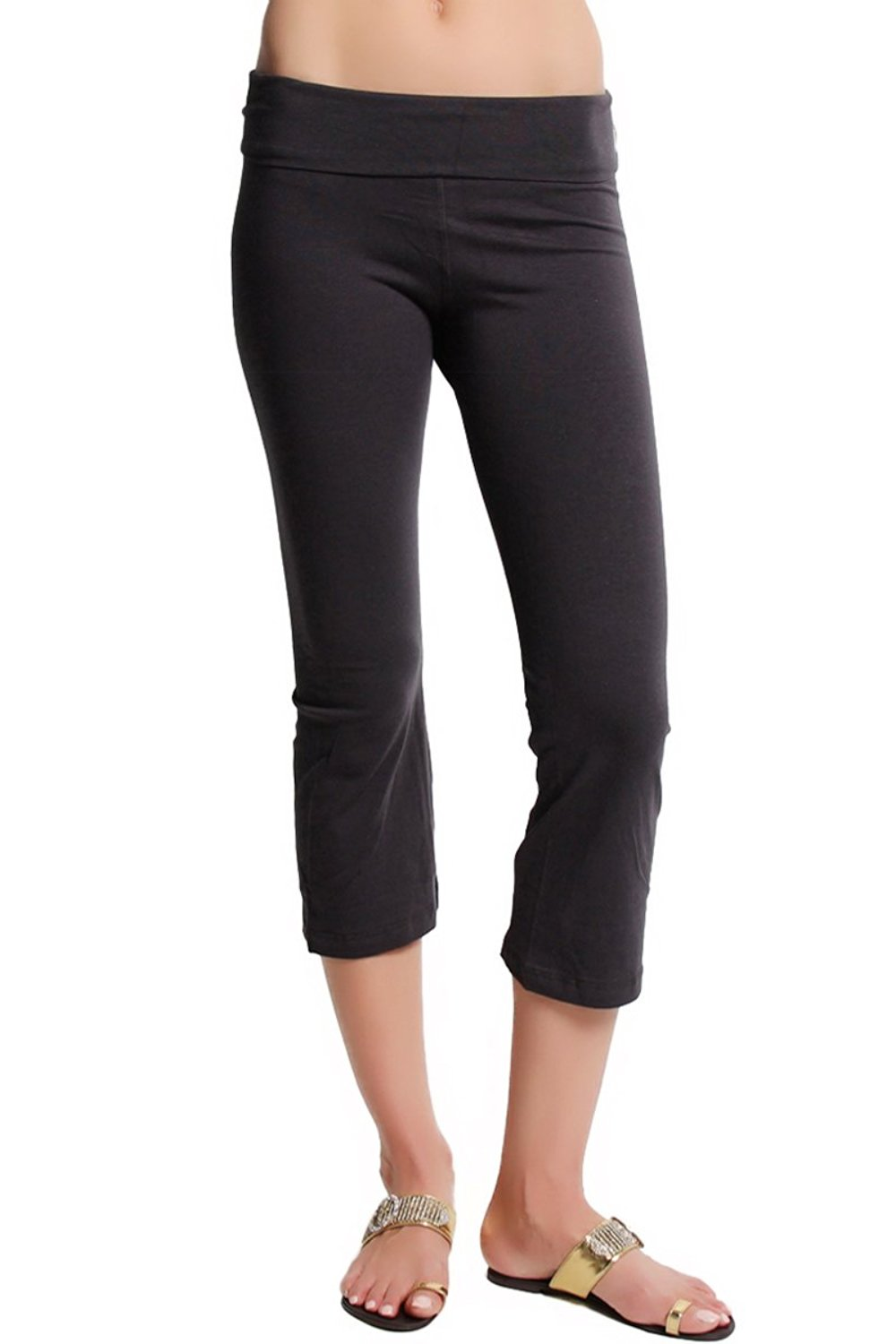 05a66545d962e TheMogan Women's Fold Over Stretchy Crop Yoga Workout Legging Flare Capri  Pant