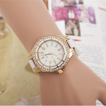 Ali Express Strap Marble Mirror Quartz Roman Diamond White Strap Casual Watches for Women