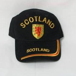 Scotland Lion Rampant Black Embroidered Country Flag Hat Cap ... Adult Size ... New