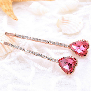 Hot Sale Fashion rhinestone colorful heart hair pin for girls wholesale