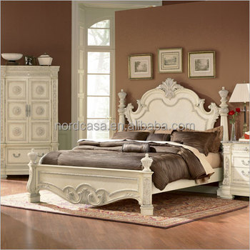 New Design Of 2016 French Style Solid Wood White Bed