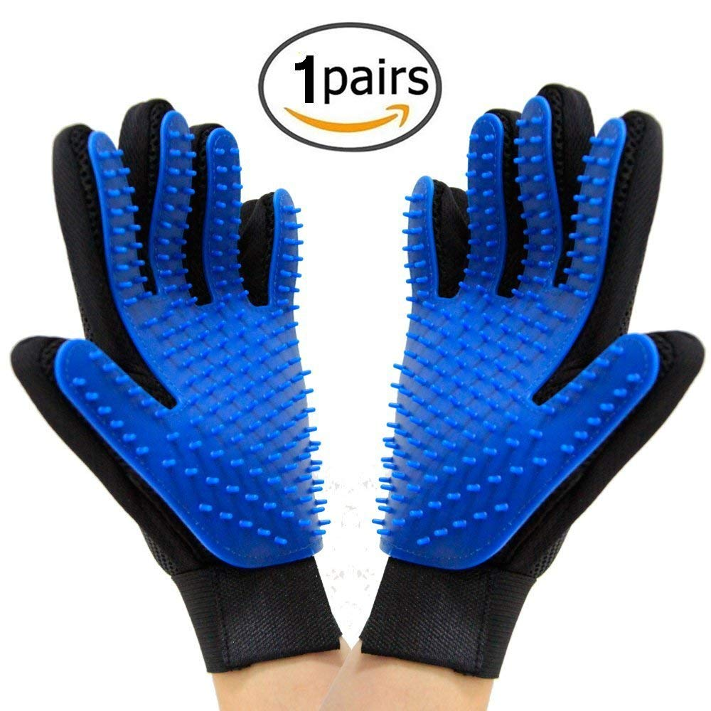 Love Pets Goods Comfortable Efficient Pet Hair Remover Glove, Pet Grooming Glove Brush, Deshedding Glove, Pets Massage Mitt. Perfect for All Kind of Dogs & Cats - 1Pair(Right and Left).