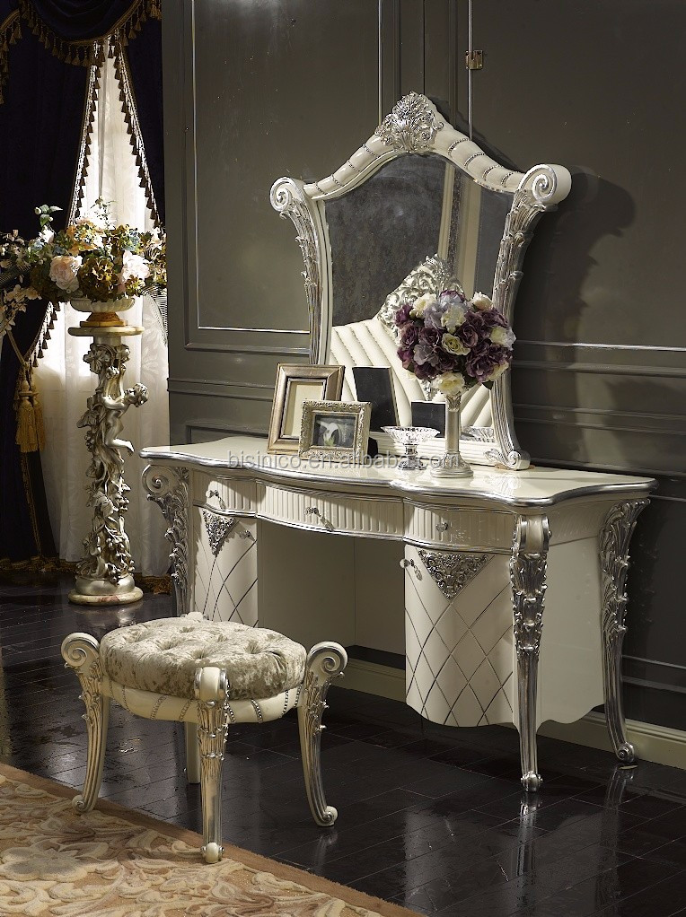 Silver and White Antique Vanity Dresser Table with Mirror, French Classic  Dressing Table and Mirror - Silver And White Antique Vanity Dresser Table With Mirror, French