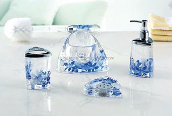 4pcs Fional Blue Flower Design Plastic Oil Floating Acrylic Bathroom Accessories Set