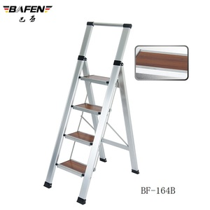 Sell 4steps Luxury Aluminum Folding Ladder with wooden Step