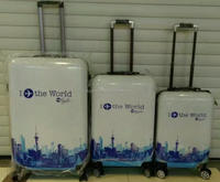 the world print spinner hard trolley suitcase wheeled ABS PC travel hard trolley case