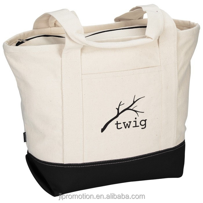 14-oz unbleached Cotton Tote with Front slash pocket and zippered closure with colored bottom panel and zipper tape