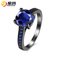 Unique Gun Black Plated Copper Rings Female Women Wedding Party Birthday Gift Fashion Blue/purple Zircon Finger Rings Jewelry