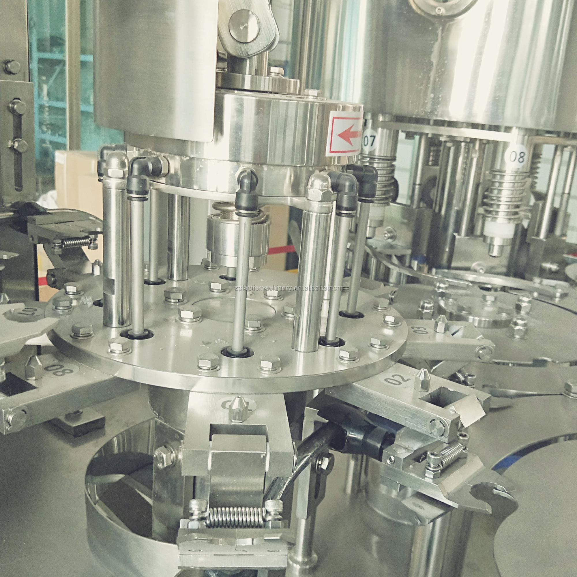 रोटरी भरने और सीलिंग मशीन, छोटे उद्योगों के लिए मिनरल वाटर की बोतल धोने भरने कैपिंग मशीन