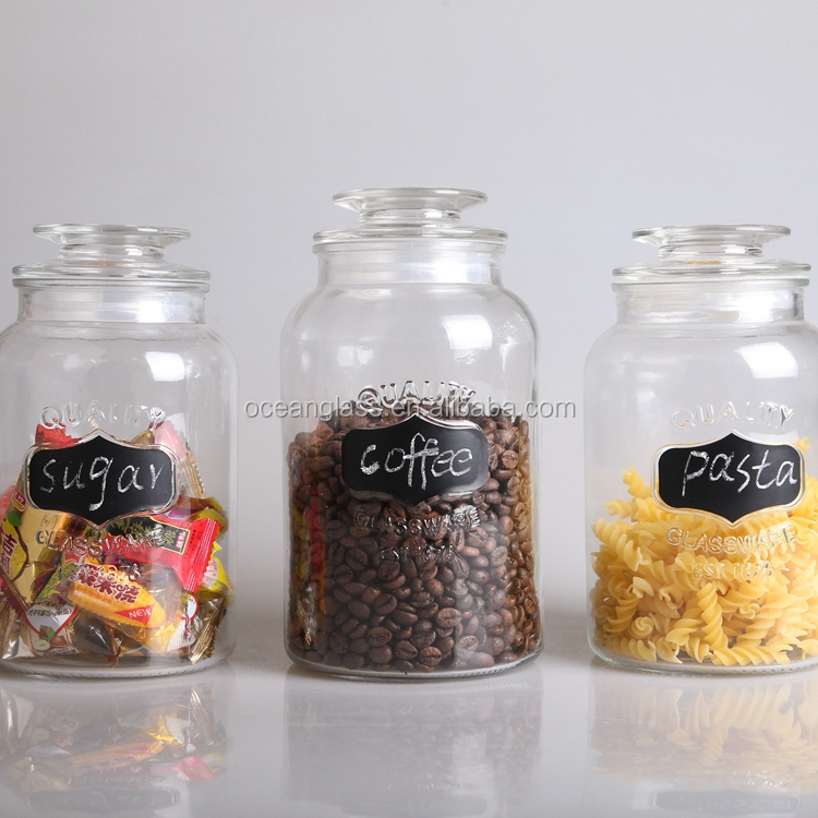 Set of 3 Writable glass jars Clear Glass Chalkboard Canister Set of 3 Classic Round Jar Design with Airtight Lids