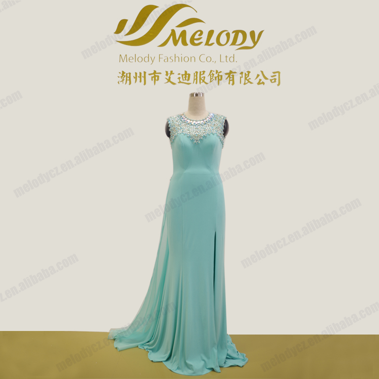 Dream neckline beaded chiffon ruffle backless blue bridesmaid women's evening dress