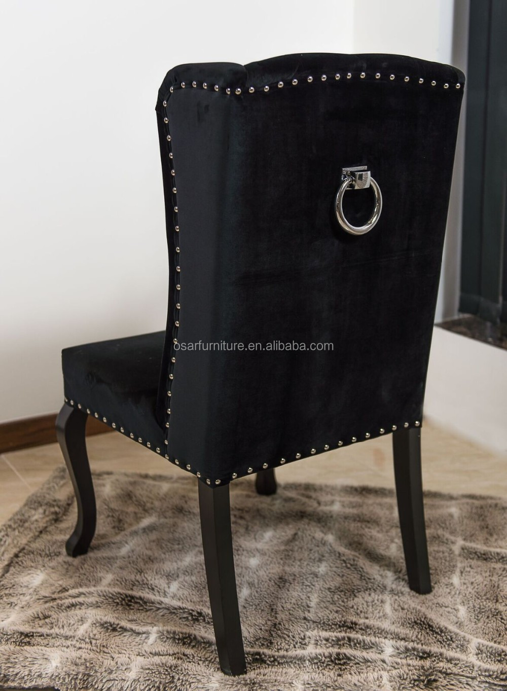 Luxury Wing Back Black Velvet Dining Chair With Ring Pull
