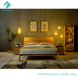 New model king size wooden bed design with high back