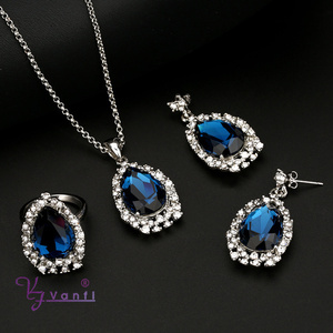 latest model fashion jewelry with sapphire crystal blue gemstone jewellery set