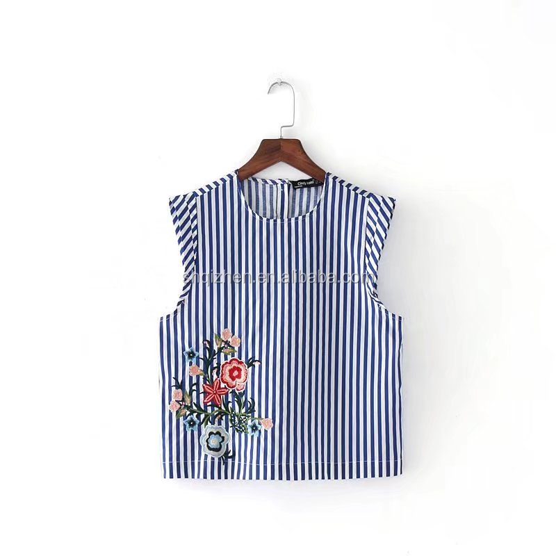 2017 European and Americal style o neck sleeveless women stripe embroidered summer blouse & tops
