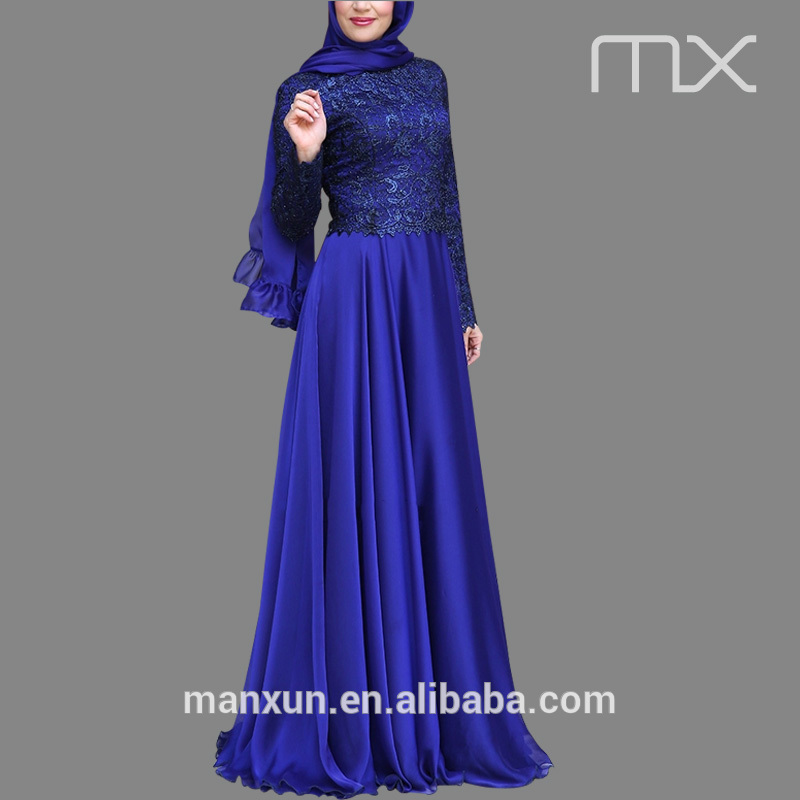 f97b9a27ecd Royal blue colour dress new fashion chiffon maxi dresses with lace  pakistani ladies dresses muslim wedding