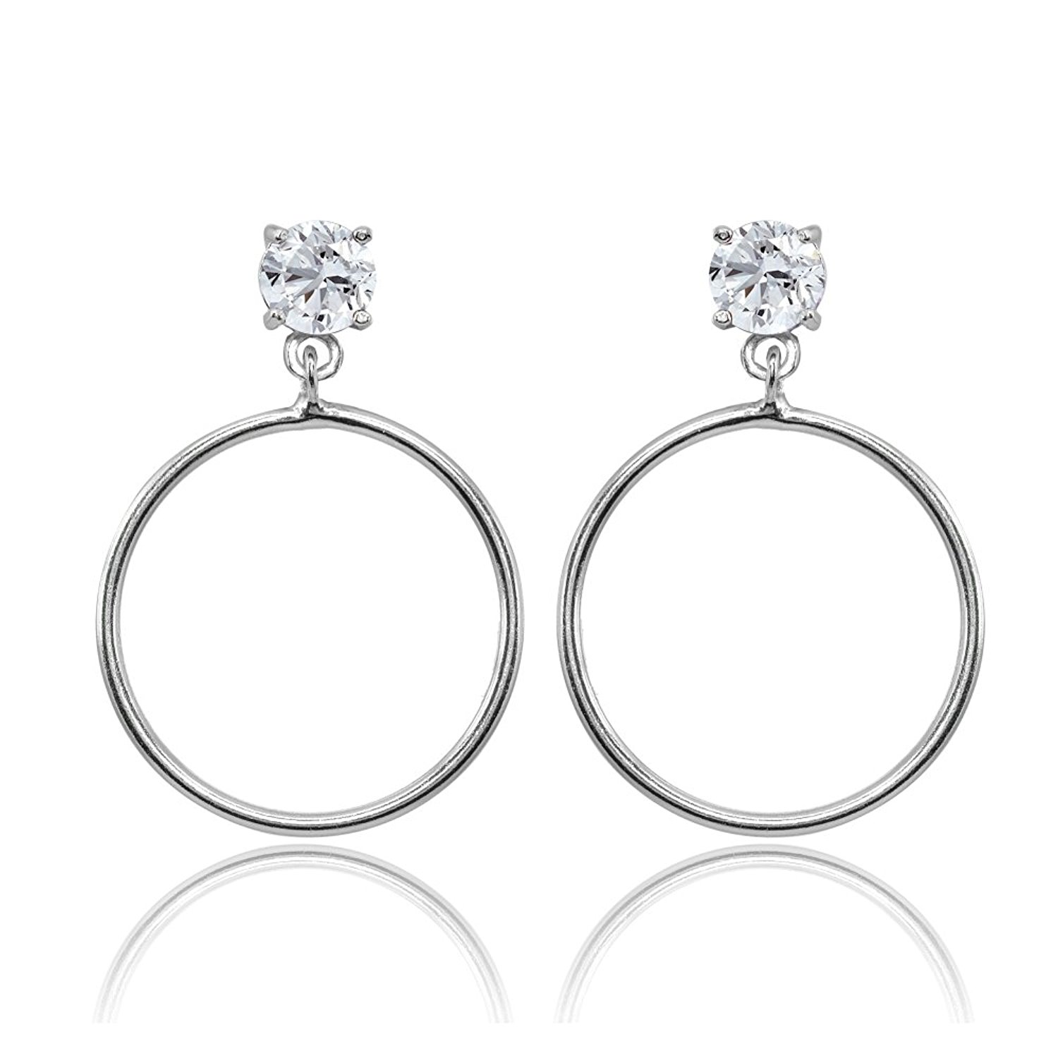 a0463aa08 Get Quotations · Sterling Silver Cubic Zirconia Dangling Round Hoop Stud  Earrings, 4mm, 5mm, 6mm