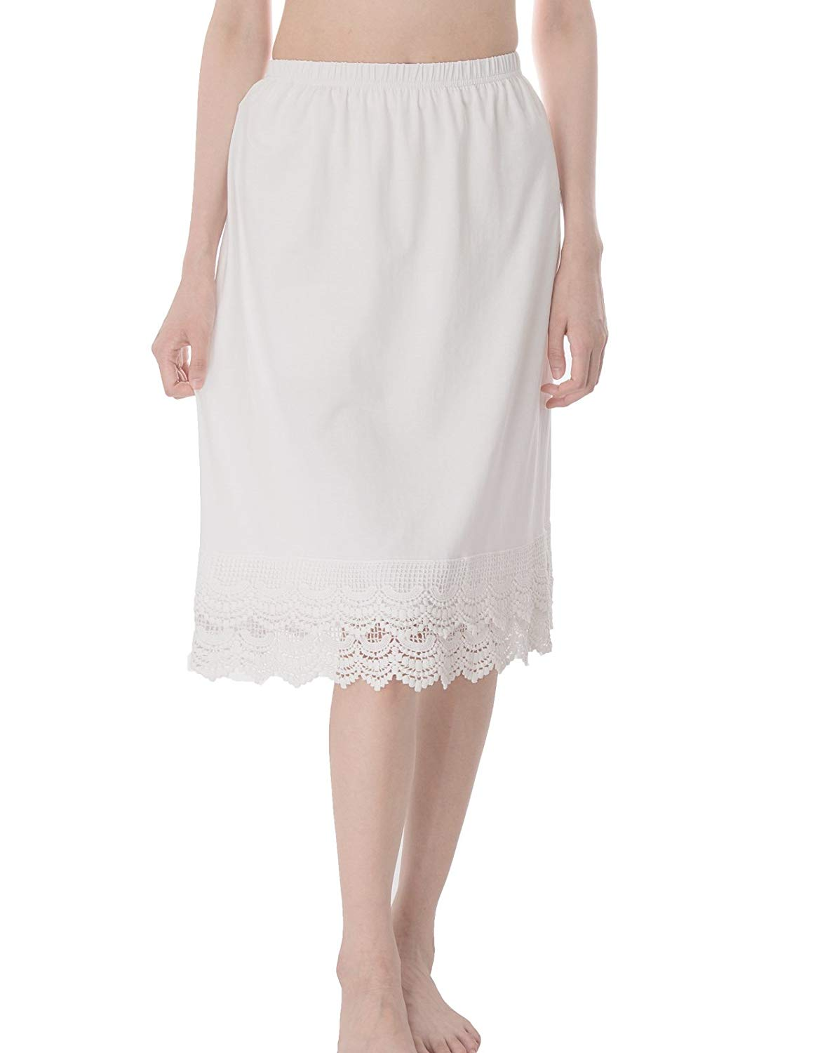 233611e83975 GRACE KARIN Knee Length Underskirt Double Lace Skirt Extender Half Slip