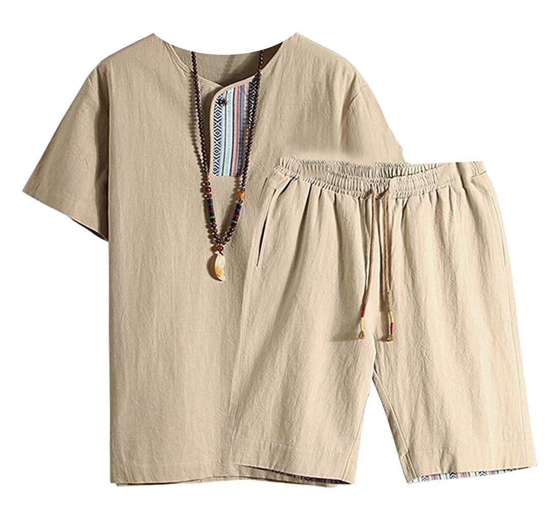 OTW-Men Summer T-Shirt and Shorts Casual Sport Short Sleeve Floral Print Cotton Linen Outfits
