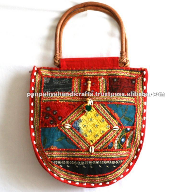 Bohemian Purse with Wooden Handles ,Ladies Fabric Handbag