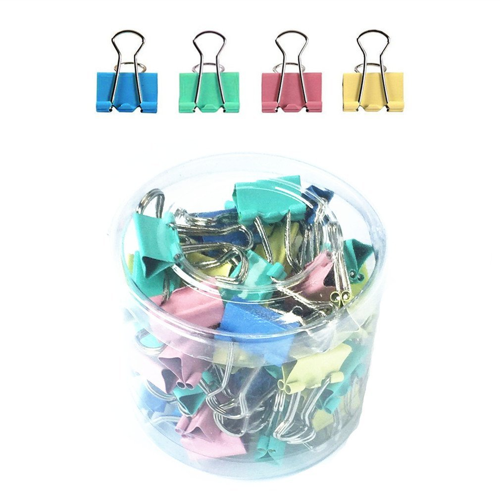 Qiorange Assorted Colors Mini Organize Metal Paper Binder Clips 1 60 Pieces (15mm Color 60Pcs)