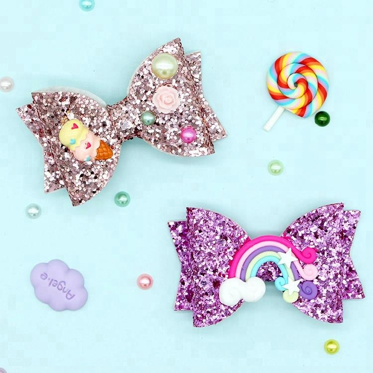 new products 2018 fancy butterfly kids custom korea glitter bows unicorn girls alligator accessories design hair clips for girls